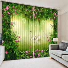 Home Bedroom Decoration 3D Curtain Green leaves safflower Swan Bed Room Living Room Office Hotel Cortinas 3D Bathroom Shower(China)
