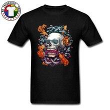 цена на Short Term Memory Dead Skull Punk Top T-shirts Koi Carp Skull Fish Cotton Young Tops Tees Short Sleeve Tops Shirt Geek