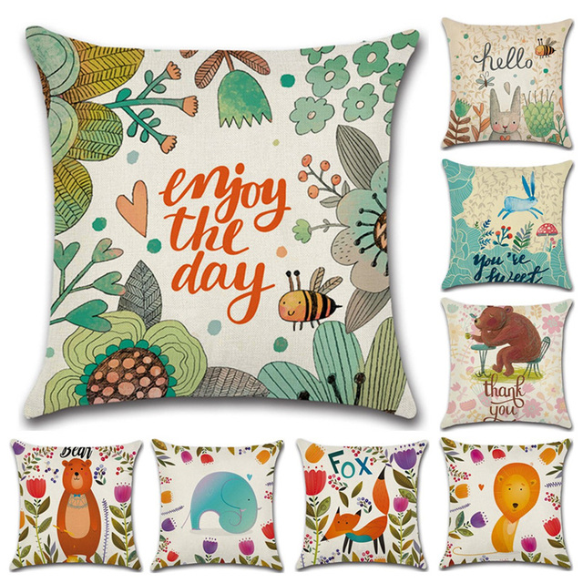 Cartoon Jungle Animals Hand Painted Cushion Cover RabbitFoxBear Cool Hand Painted Pillow Covers