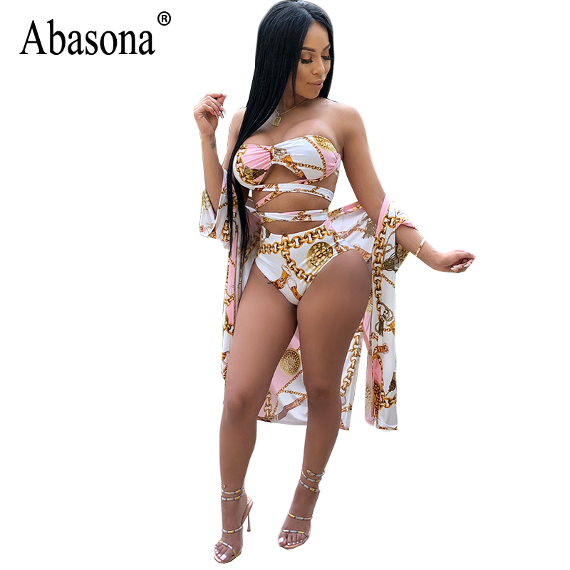 Abasona 2018 Printed Rompers Women Jumpsuit Sexy Hollow Out Bandage Skinny Bodysuit Summer Casual Boho Beach Bodysuits 3 Pieces