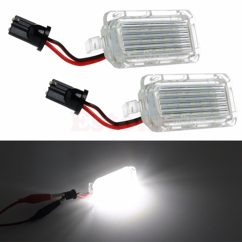 1 Pair License Plate Light 18 LED Lamp For Ford Mondeo Focus 5D C-MAX Canbus 2x 18 smd led license plate light module for ford focus da3 dyb fiesta ja8 mondeo mk4 c max s max kuga galaxy