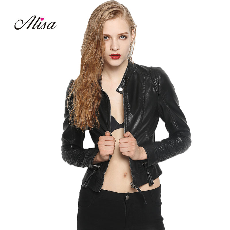 New 2018 Women Faux   Leather   Coats Spring Autumn Slim Zipper Black Pu Jacket Female Long Sleeved Punk Moto Biker   Leather   Jacket