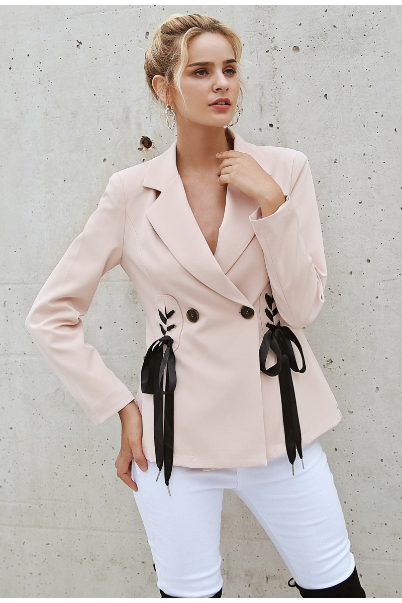 Simplee Autumn OL double breasted suit coat Elegant side tie up cool winter outwear V neck short coat office lady 2018 5