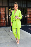 Bright Green Women's Fashion Office Suits Female Custom Made Casual Elegant Jacket Pants Work Wear Plus Size Women Suits Costume
