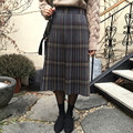 Saias xadrez tartan tecido de lã das mulheres inverno lã xadrez saias kilt guarda-chuva um line vintage xadrez saia plissada de lã tartan saias