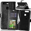 3 slot para cartão de bolso titular wallet case for huawei ascend p9/P9 Plus Lite LTE Magnético Do Caso Da Aleta Estande Bolsa de Couro Retro cobrir