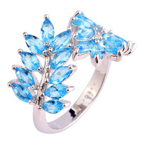 Alluring Women Rings Olive Branch Plants Style Blue Topaz 925 Silver Ring Size 7 8 9 10 Fashion Jewelry Free Shipping Wholesale