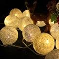 6 cm Tela de Algodón Bola de la lámpara 5 m 20 LED de hadas cadena guirnalda de luz blanco cálido 220 V Decoración de la boda llevó las luces de navidad partido