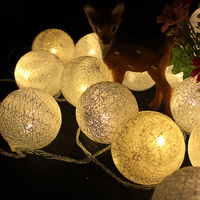 6cm Fabric Cotton Ball Lamp 5m 20 Fairy LED String Light Garland Warm White 220V Wedding