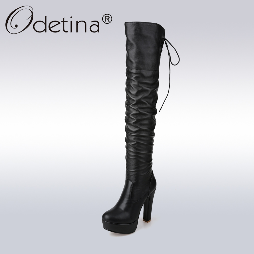 Odetina Sexy High Heel Over-the-Knee Boots Women Classic Black PU Leather Long Boots Lady Lace Up Platform Motorcycle Boot цены онлайн