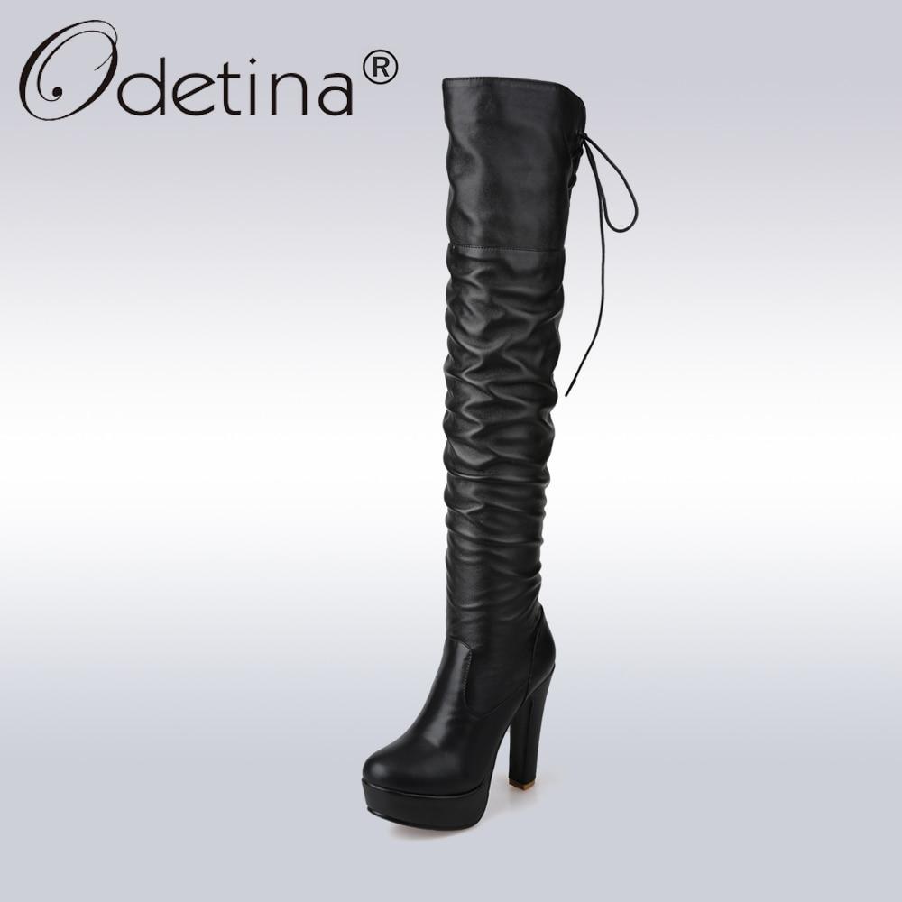 где купить  Odetina Sexy High Heel Over-the-Knee Boots Women Classic Black PU Leather Long Boots Lady Lace Up Platform Motorcycle Boot  по лучшей цене
