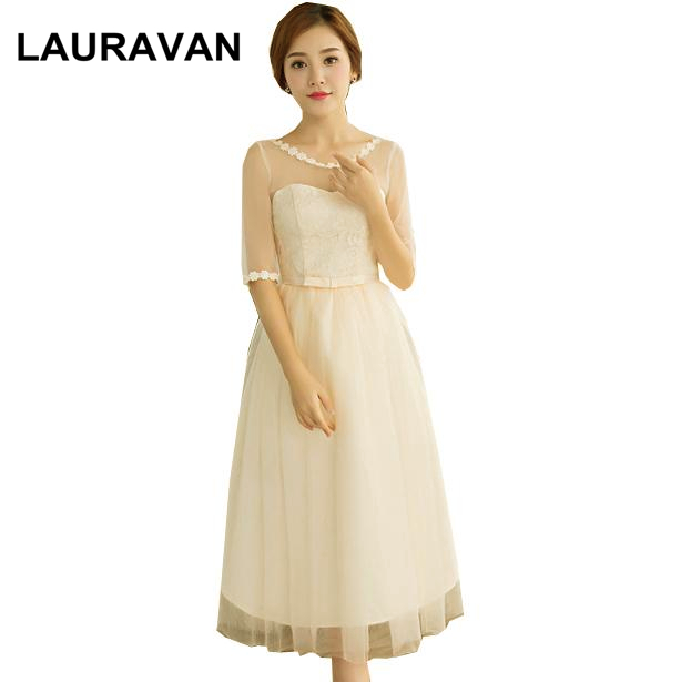 unique short champagne bridesmaid dress with half sleeves elegant lace dresses 2020 vestido ball gown for special occasions