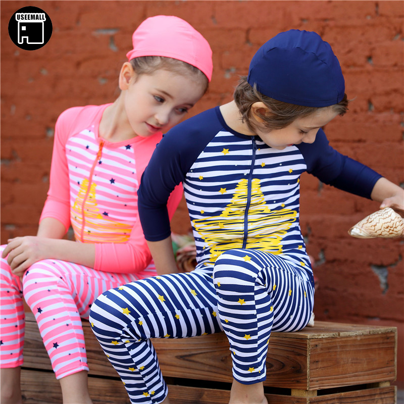 USEEMALL Summer Kids Swimwear Cute One Piece Swimsuits for Kids Children Boys Girls Bathing Suits UV  Swimsuit with Swimming Cap kids swimming suits for girls one piece swimsuit swimwear children 2018 new green printing one piece retro baby biquini