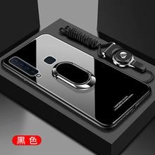 حافظة لهاتف سامسونج جالاكسي A6 A7 A8 A9 2018 من الزجاج المقسى الصلب مع حامل حلقة مغناطيس الغطاء الخلفي حقيبة لهاتف سامسونج A6 A8 Plus A750