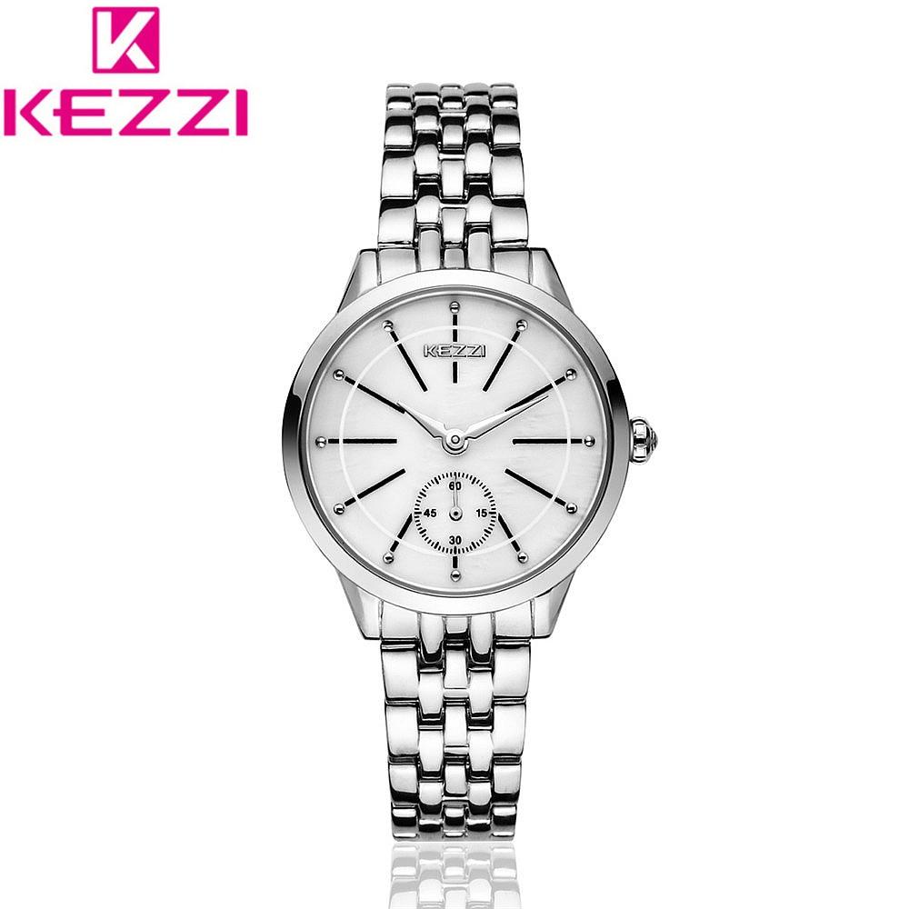 KEZZI Brand KW1454 Luxury Stainless Steel Bracelet Watch Women Fashion Quartz Wrist Watch Female Ladies Casual