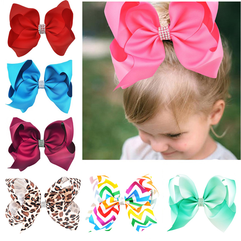 8 Inch Big Large Hair Bow Rhinestone Grosgrain Ribbon Hairgrip Alligator Clips   Headwear   Bowknot For Women Girls Hair Accessories