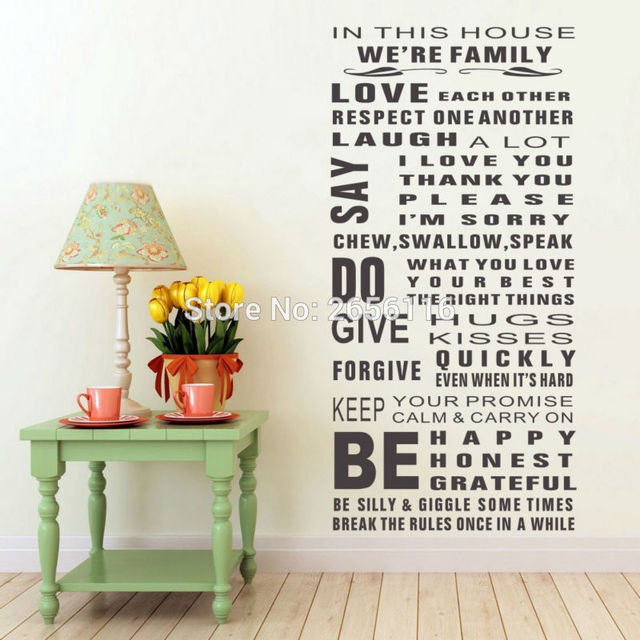 family quotes in this house we are family vinyl wall decals