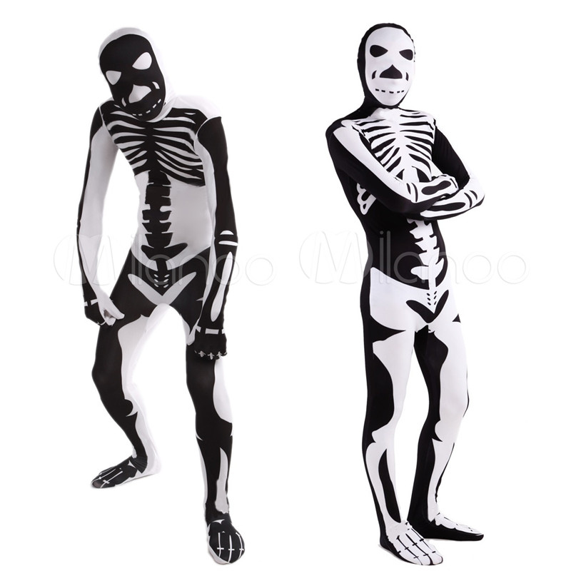 High Quality Adult Children Halloween Skull Costumes Mens White Black Human Skeleton Lycra Spandex Zentai Costume