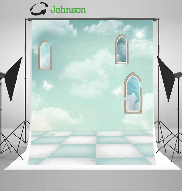 Arch Window Sky White Clouds backdrop polyester or Vinyl cloth High quality Computer print wall Backgrounds