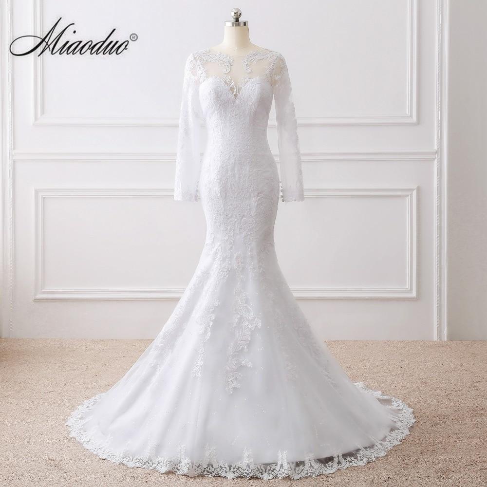 Miaoduo Vestido de noiva See Back Mermaid Wedding Dress Long Sleeves Lace Wedding Dress 2018 vestido de casamento wedding dress