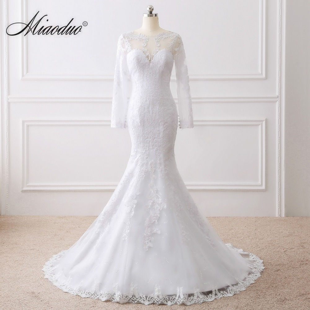 Miaoduo Vestido de noiva See Back Mermaid Wedding Dress Long Sleeves Lace Wedding Dress 2019 vestido de casamento wedding dress