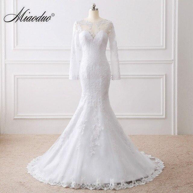 Miaoduo Vestido de noiva See Geri Mermaid Gelinlik Uzun Kollu Dantel Gelinlik 2017 vestido de casamento gelinlik
