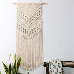 Macrame Woven Wall Hanging - Boho Chic Bohemian Room Geometric Art Decor - Beautiful Apartment Dorm Room Decoration, 14in W x