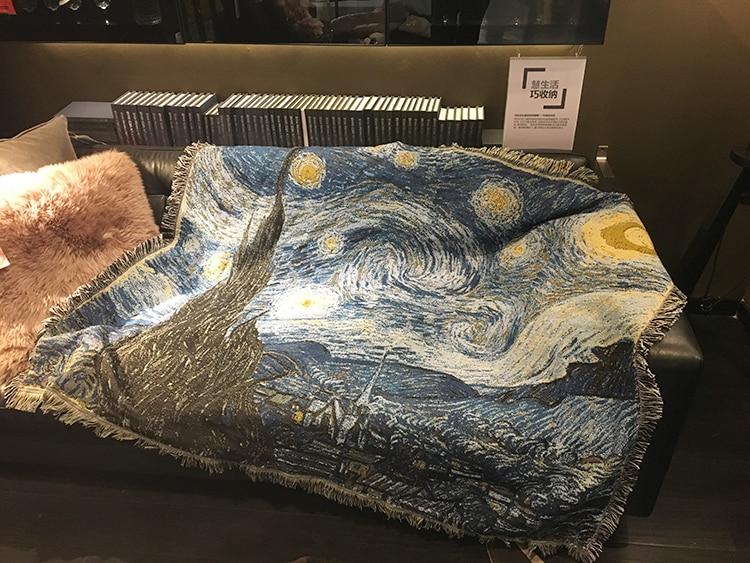 Baumwollmischung Teppich Van Gogh Sternenklare Nacht Sofa Decke Wohnzimmer  Schlafzimmer Weichen Comping Wandern Teppich Bettdecke Tischdecke