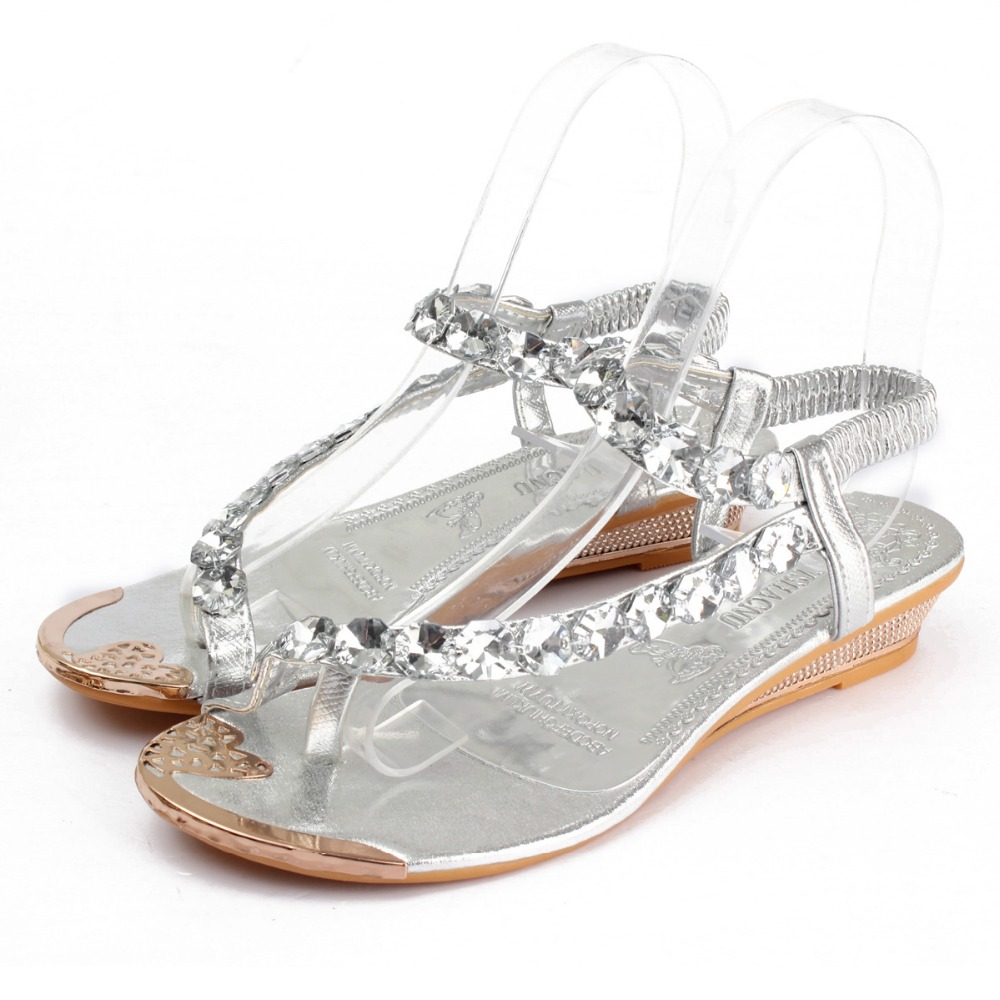 584196050 slingback low heel woman sandals flat with flip flop rhinestone women beach  sandals silver gold diamond