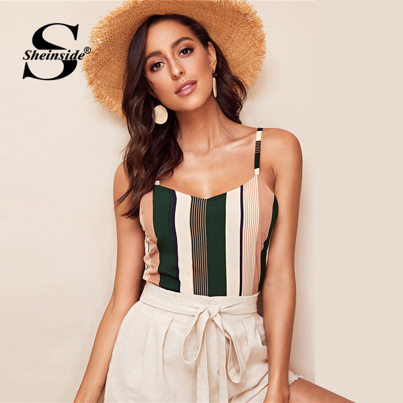Sheinside Casual Striped Print Basic Cami Top Women 2019 Summer V Neck Chiffon Cami Ladies Vertical Stripe Patchwork Top