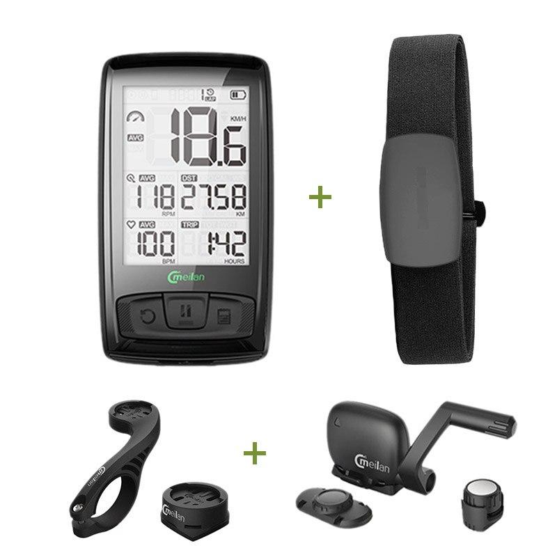 Meilan compteur de vitesse de bicyclette sans fil tachymètre Cadence + capteur de vitesse météo peut recevoir la fréquence cardiaque
