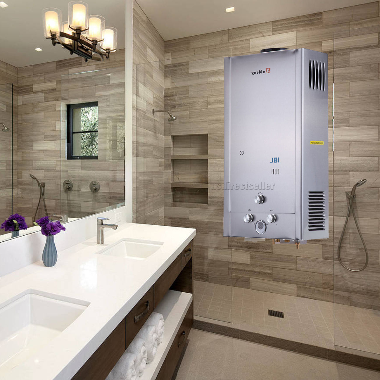 18L 5GPM Instant Tankless Hot Water Heater LPG Propane Gas 32KW Bolier W/ Shower