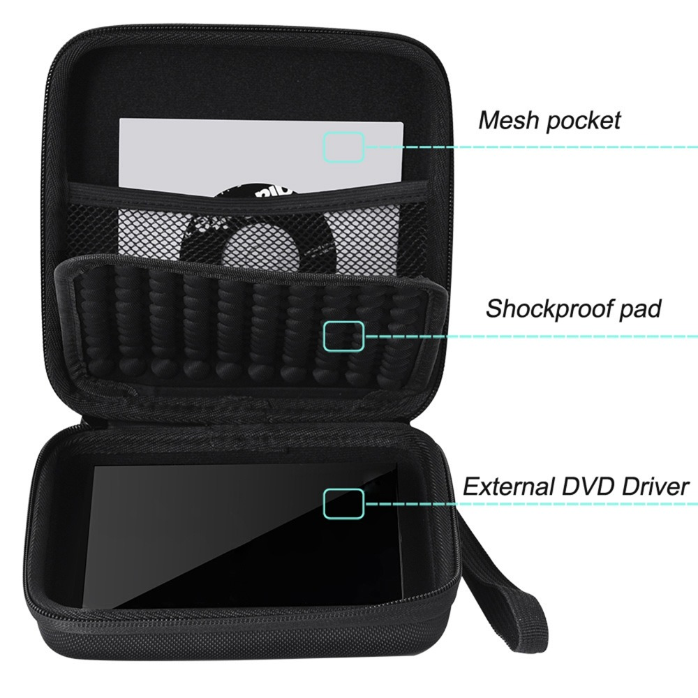 Waterproof Protective Storage Case Carrying Bag Pouch for CD DVD Writer <font><b>Blu-Ray</b></font> &External Hard Drive For Apple USB Superdriv Box