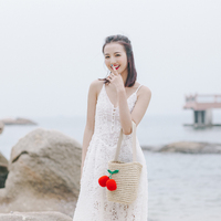 PERDREAM Bucket Bags Manual Cherry Crochet Hook Shoulder Bags Sandy Beach Leisure Time High Capacity Bucket Bag For Women
