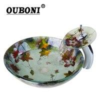 OUBONI Tempered Glass Basin Sink Washbasin Faucet Set Counter Top Washroom Basin Vessel Vanity Sink Bathroom