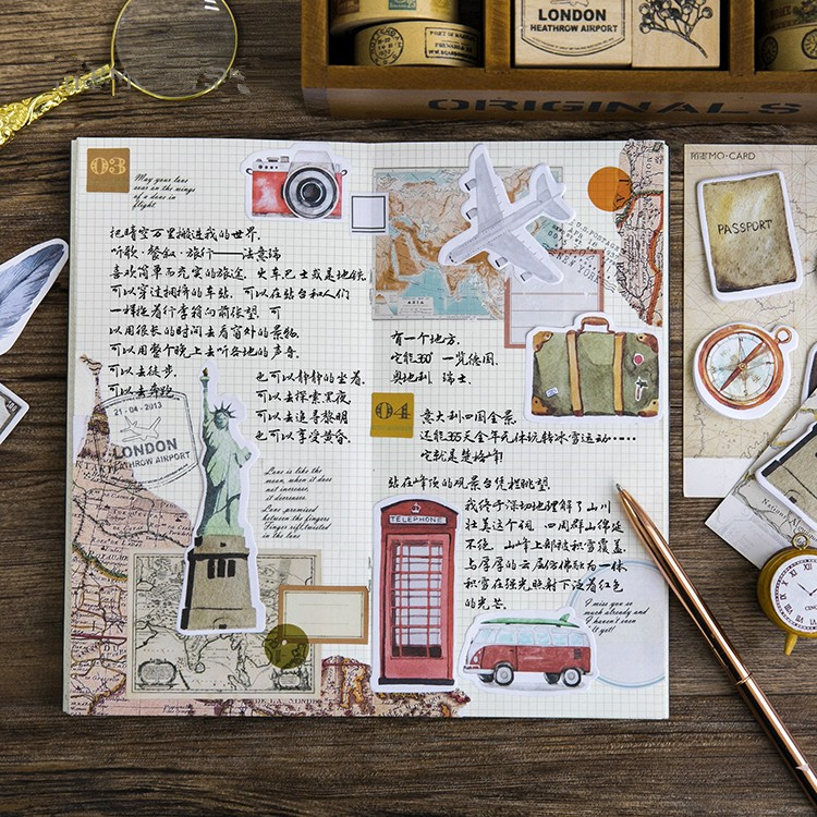 20packs/lot Old time travel student memo pad kawaii paper sticker papelaria stationery school supplies wholesale
