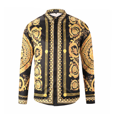 2018 New fashion Punk style men shirts Patchwork 3d Religion Baroque Golden Flower Floral print long sleeves Camisas