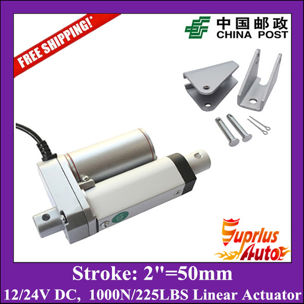 Free Shipping DC 12/24V 2inch/50mm electric linear actuator, 1000N/100kgs load linear actuators with mounting brackets free shipping dc 12v 24v 9inch 225mm linear actuator 1000n 100kgs load electric linear actuator with mounting brackets
