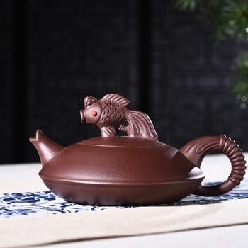 Yixing teapot genuine all handmade raw ore purple mud fish jump teapot Kung Fu Zisha teapot tea set