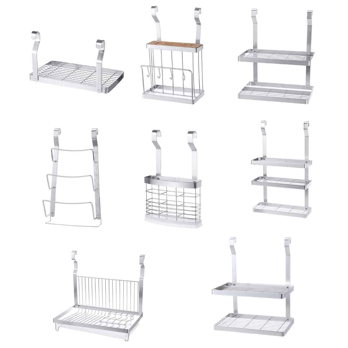 Stainless Steel Kitchen Organizer Multifunction Dish Drying Rack Wall Hanging Storage Holder Tableware Shelf Drainer 8 Types