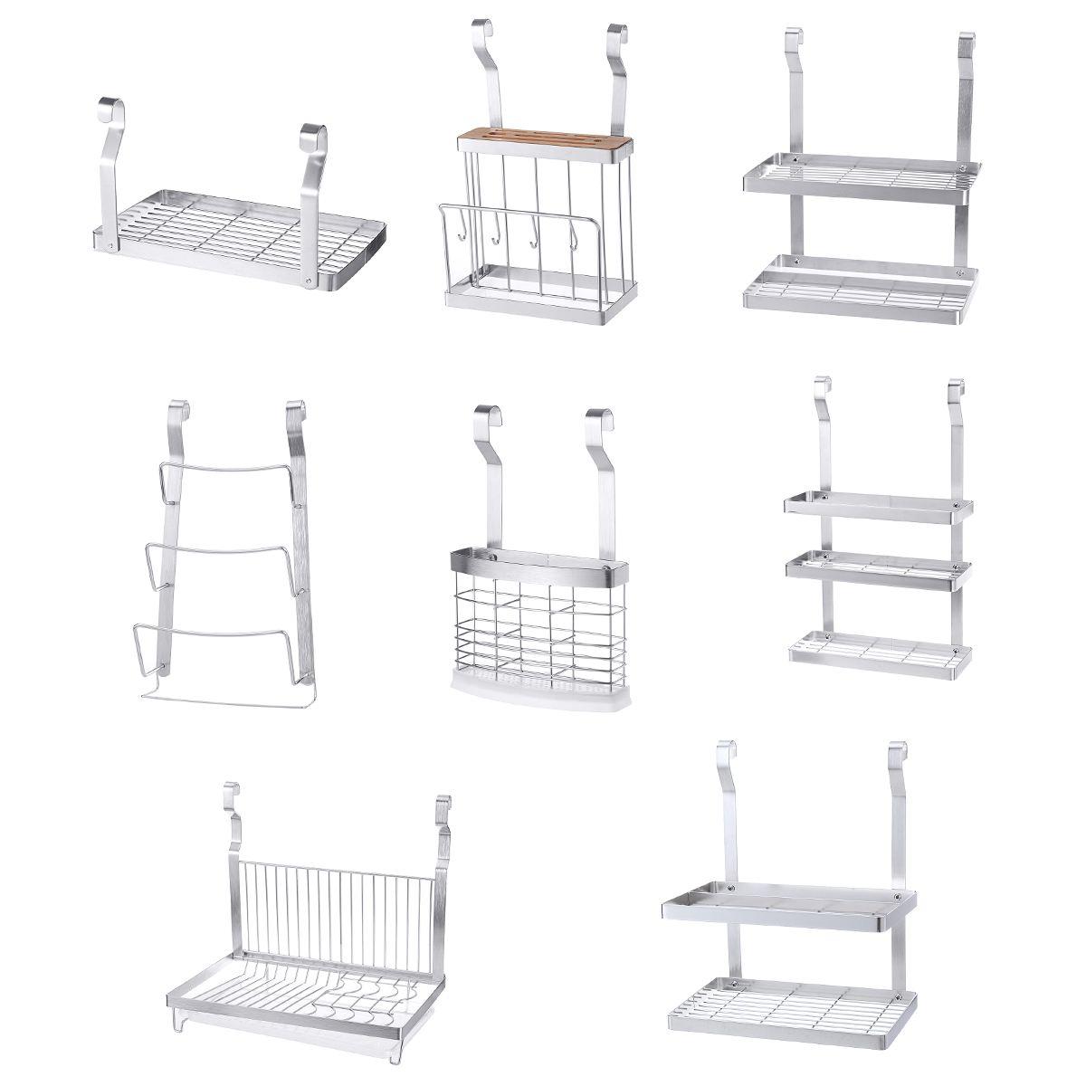 ステンレス鋼キッチンオーガナイザー多機能食器乾燥ラック壁掛け収納ホルダー食器棚水切り 8 種類