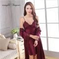 Free shipping Women Satin Nightgown Set Purple Color Plus size Sexy Long Robe sets M-XXL Breathable Nightwear ensemble de nuit