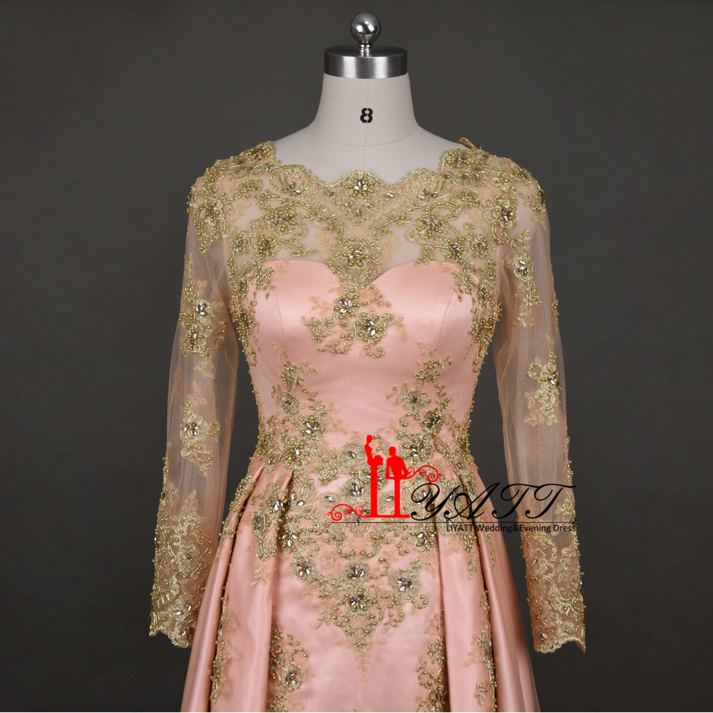 Beaded Gold Lace Appliques Saudi Arabia Muslim Evening Dress Long Floor  Length Formal Party Gowns Long Sleeves Pink Prom Dresses-in Evening Dresses  from ... 2eb32a70073f