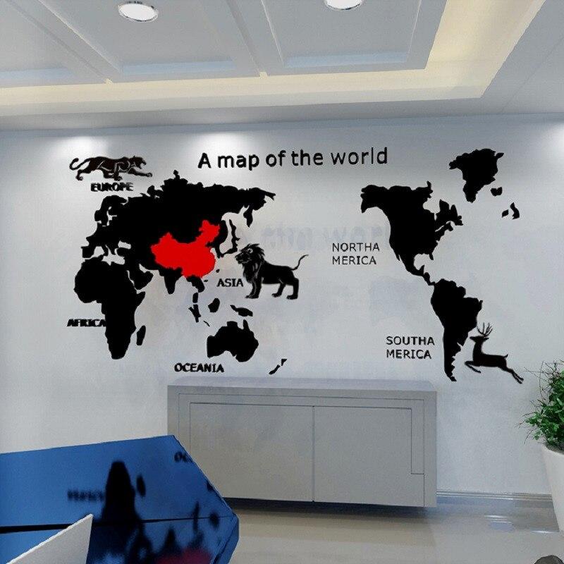 Carte du monde 3D acrylique stéréo auto-adhésif Stickers muraux salon canapé bureau affiche murale lion tigre décoration murale