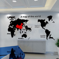 World Map 3D Acrylic Stereo Self adhesive Wall Stickers Living room sofa office wall poster lion tiger Wall decoration