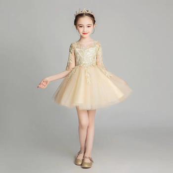 Baby Toddler Elegant Gold Color Birthday Wedding Party Princess Ball Gown Mesh Dress Kids Infant Host Piano Costume Holy Dress