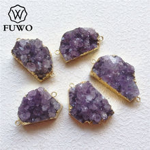 FUWO Natural Irregular Amethysts Cluster Connector With 24K Gold Filled Edge Fashion Double Bails Druzy Pendant Wholesale PD191