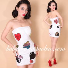 New High Quality Bandage Sequin Dress Women Fashion Heart Pattern Party White Dresses Novelty Strapless Sexy