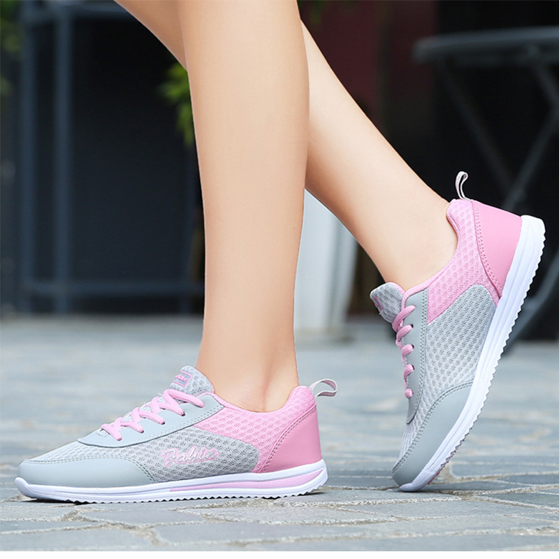 Women Sneakers 2017 New Women Casual Shoes Summer Fashion Breathable Shoes With Flat Walking Shoes pink