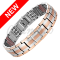 Channah 2017 Men 2-Tone Rose Gold Silver 4in1 Magnets -ve Ions Germanium Infra Red Titanium Bracelet Bangle Free Shipping Charm